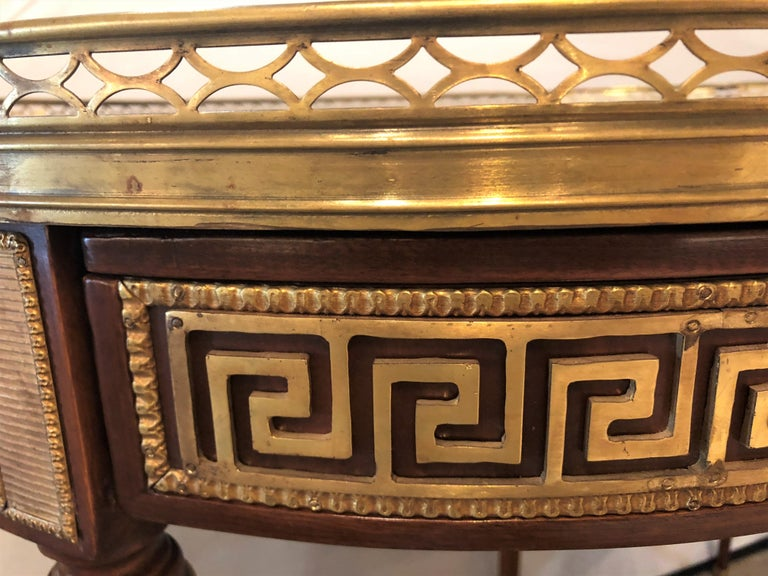 Pair of Marble-Top Greek Key Bouiliotte Tables / End Mahogany Double Drawers For Sale 5