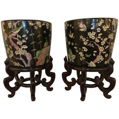 Pair of 19th Century Chinese Jardinière on Rosewood Stand