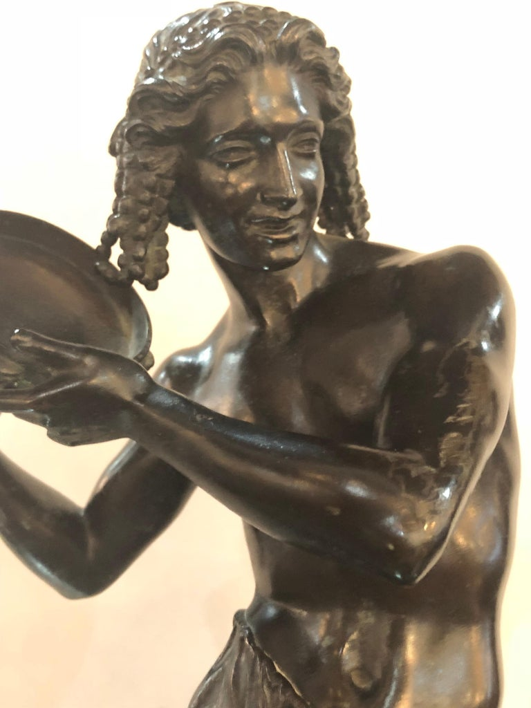 Pair of Patinated Bronze Figures of Male Dancers Signed Duret and Delafontaine For Sale 7