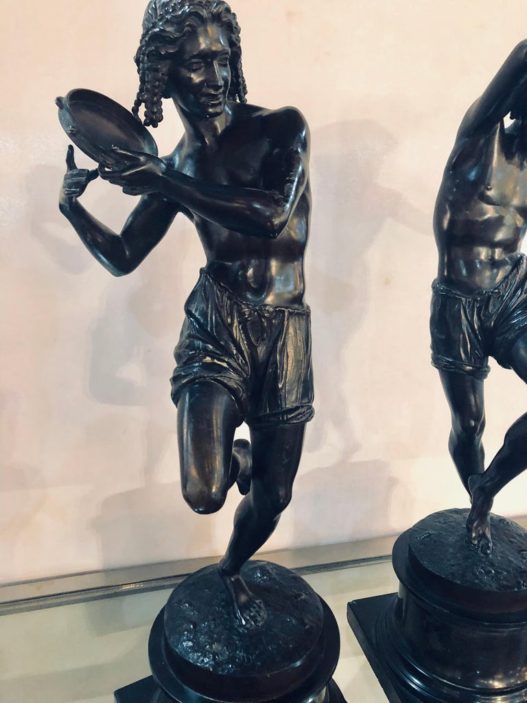 Baroque Pair of Patinated Bronze Figures of Male Dancers Signed Duret and Delafontaine For Sale