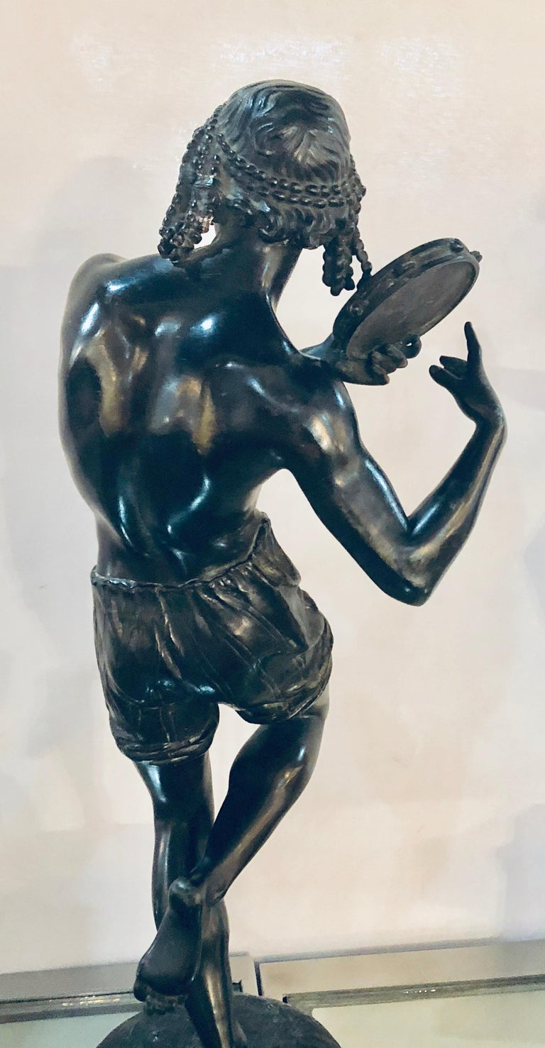 Pair of Patinated Bronze Figures of Male Dancers Signed Duret and Delafontaine For Sale 5