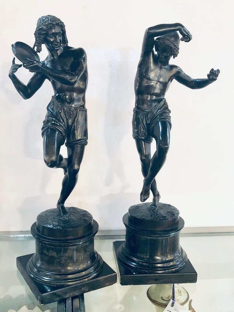 Pair of Patinated Bronze Figures of Male Dancers Signed Duret and Delafontaine For Sale 8
