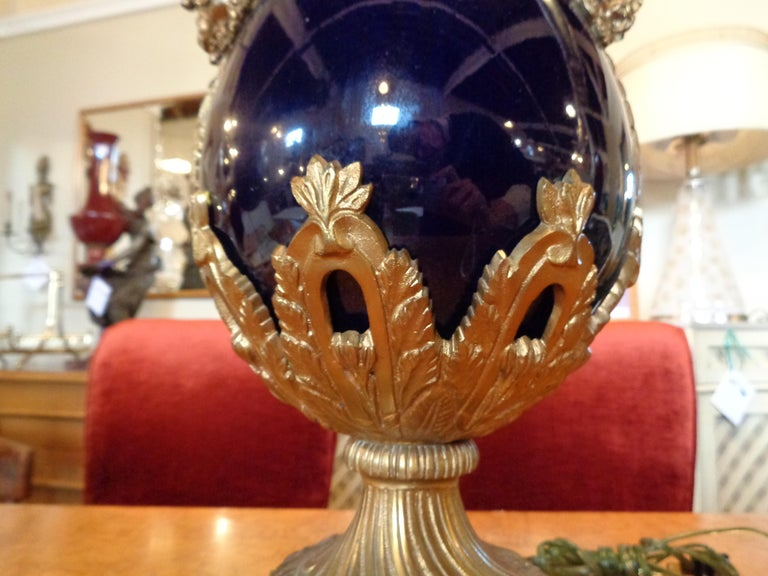 Sevres Style Cobalt Blue Porcelain & Bronze Swan Handle Urn Mounted as a Lamp In Good Condition For Sale In Stamford, CT