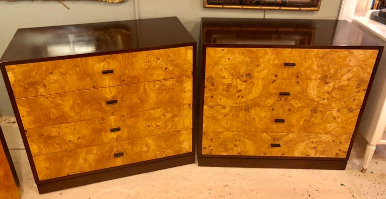 American Pair of Harvey Probber Labeled Burl Wood and Mahogany Commode Chests Nightstands For Sale