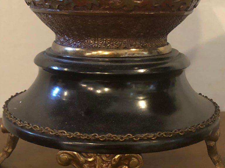 Pair of 1920s Bronze Urn Form Glass Top End or Pedestal Tables For Sale 5