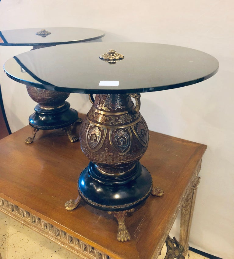 Chinoiserie Pair of 1920s Bronze Urn Form Glass Top End or Pedestal Tables For Sale