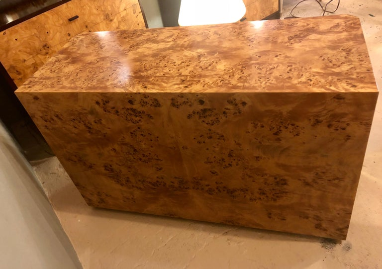 Pair of Willy Rizzo Commodes Nightstands with Brass Accents in a Light Burl Wood For Sale 2