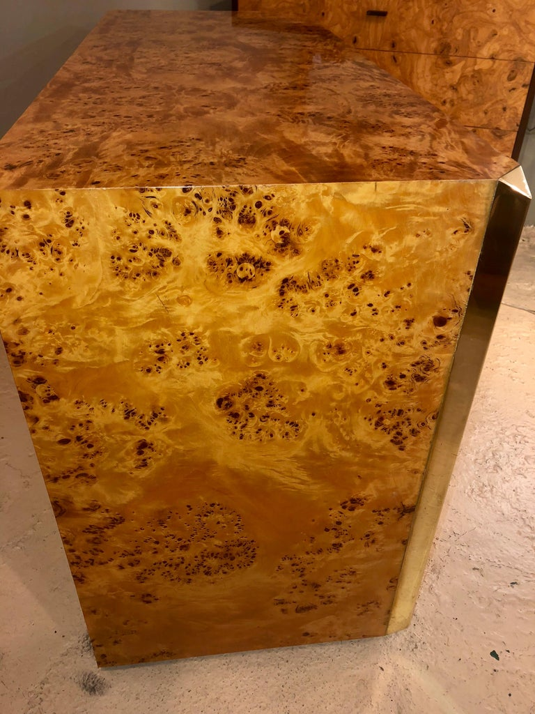 Pair of Willy Rizzo Commodes Nightstands with Brass Accents in a Light Burl Wood For Sale 4
