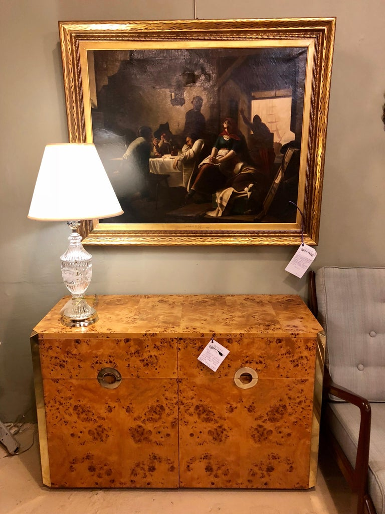 Pair of Willy Rizzo Commodes Nightstands with Brass Accents in a Light Burl Wood In Good Condition For Sale In Stamford, CT