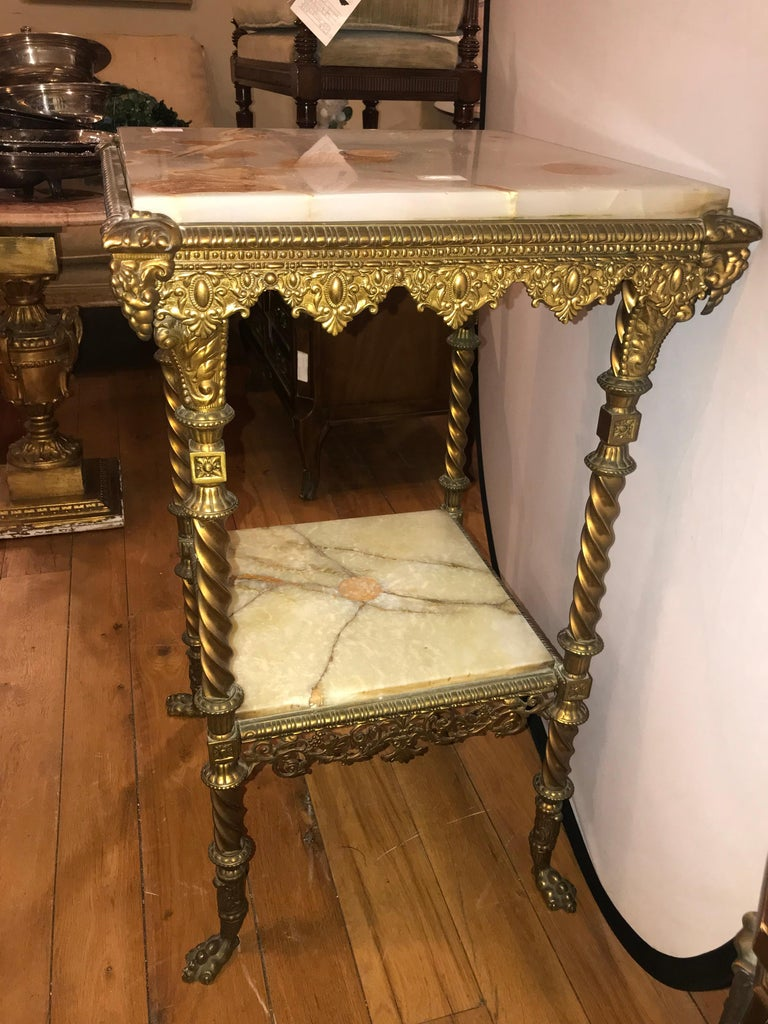 French Two-Tier Bronze and Alabaster Pedestal or End Table In Good Condition For Sale In Stamford, CT