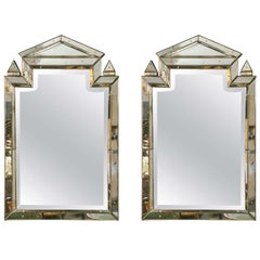 Pair of Piedmont Hollywood Regency Style Distressed Antiqued Venetian Mirrors