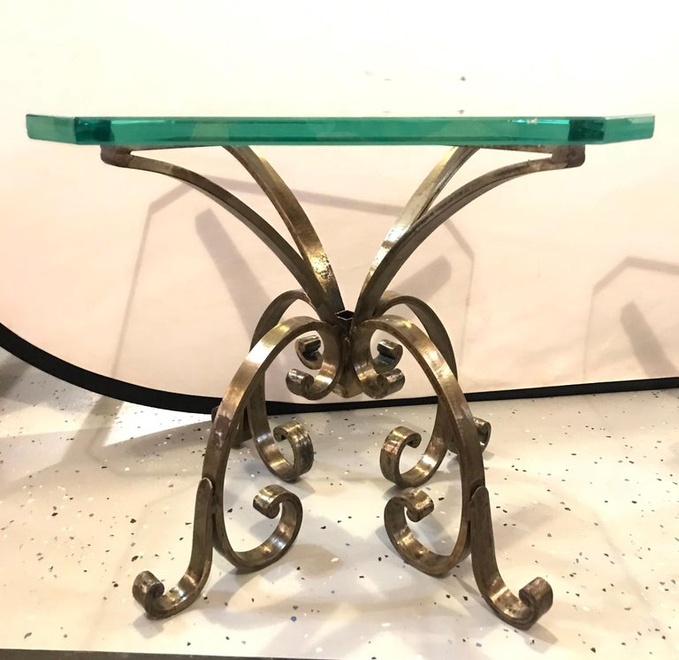 Industrial Pair of Welded Steel End, Coffee or Pedestal Tables Having Thick Glass Tops For Sale