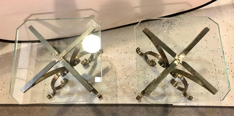 Pair of Welded Steel End, Coffee or Pedestal Tables Having Thick Glass Tops For Sale 4