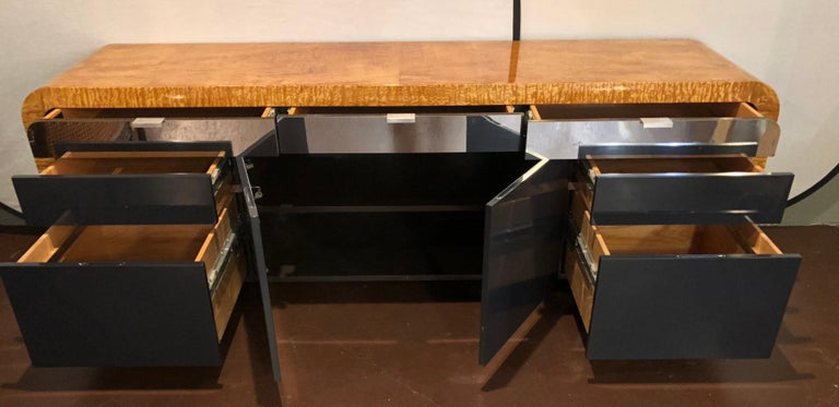 Vladimir Kagan Burl Wood and Lacquered Sideboard or Console with File Cabinets For Sale 6