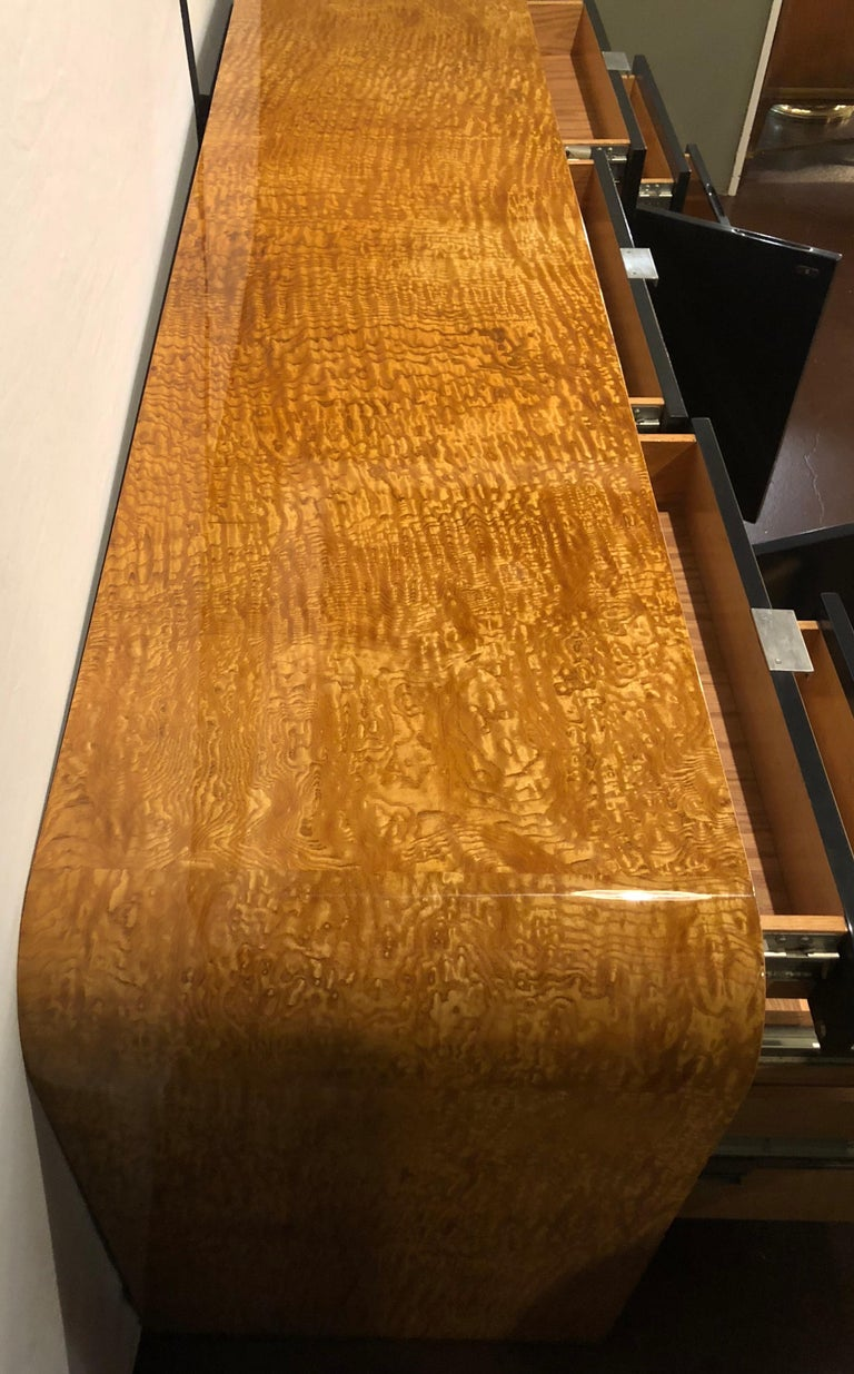 Vladimir Kagan Burl Wood and Lacquered Sideboard or Console with File Cabinets In Good Condition For Sale In Stamford, CT