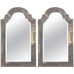 "Pair of ""Classic"" Arch Top Venetian Style Distressed Bevelled Mirrors"