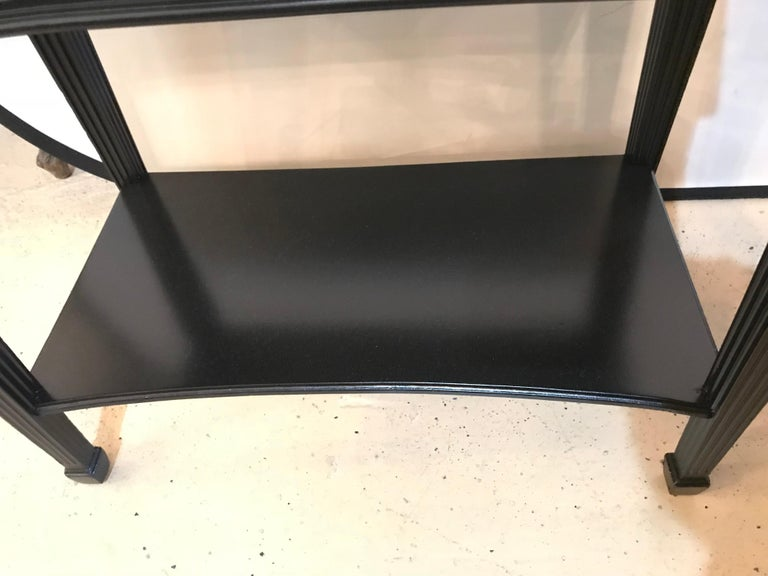 Pair of Hollywood Regency Jansen Style Ebony 1 Drawer End Tables/Bedside Stands For Sale 8