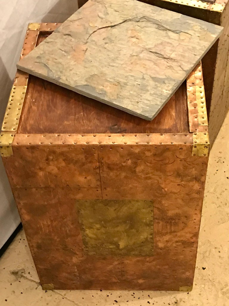 Pair of Mid-Century Modern Paul Evans Inspired End Tables or Pedestals For Sale 5