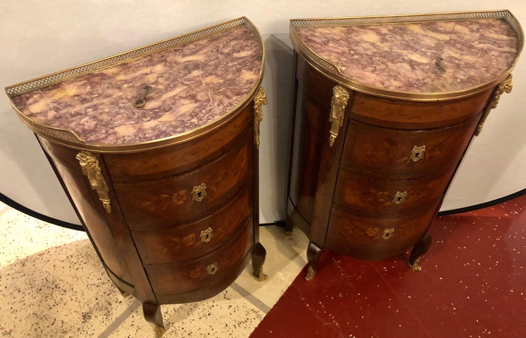 Pair of 19th Century Bronze Mounted Demilune End Tables or Nightstands For Sale 6