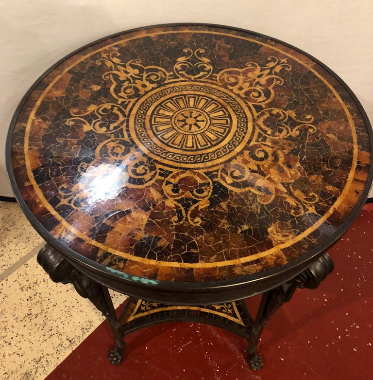Neoclassical 19th Century Tortoise Shell Top Bronze Figural Center or End Lamp Table For Sale