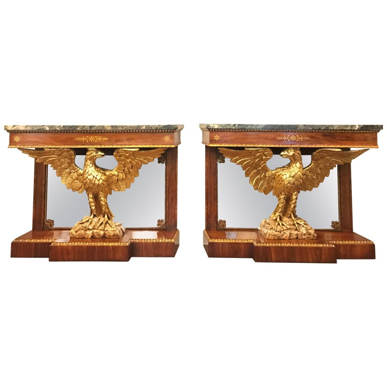 Pair of Regency Style Brass Inlaid Rosewood Parcel-Gilt and Marble Consoles