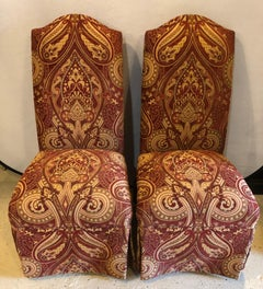 Pair of Drexel Side Office or Desk Chairs in a  Fine Upholstery