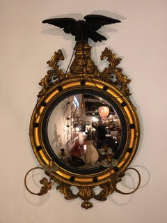 A Federal Convex Gilt Gold Wall or Console Mirror Adorning A Winged Eagle