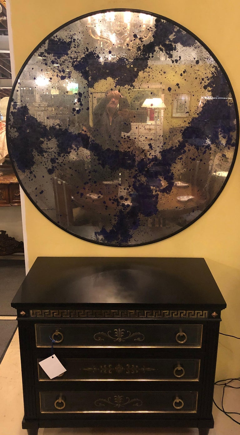 Monumental Art Deco Black & Silver Distressed Wall Console Mirrors or Table Tops For Sale 8