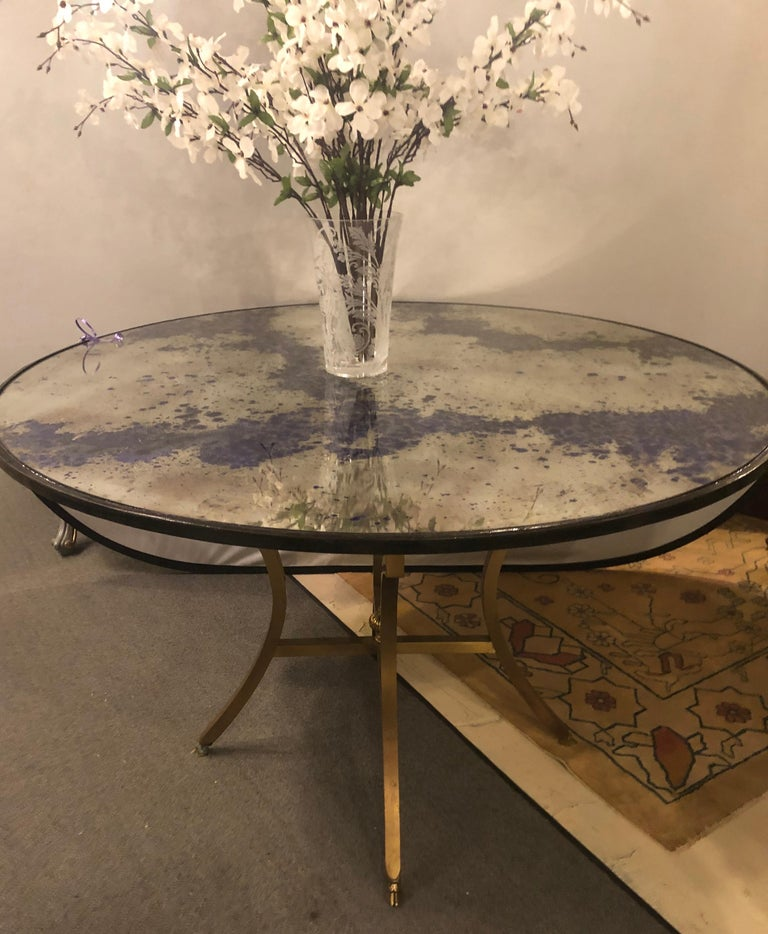 Hollywood Regency Monumental Art Deco Black & Silver Distressed Wall Console Mirrors or Table Tops For Sale