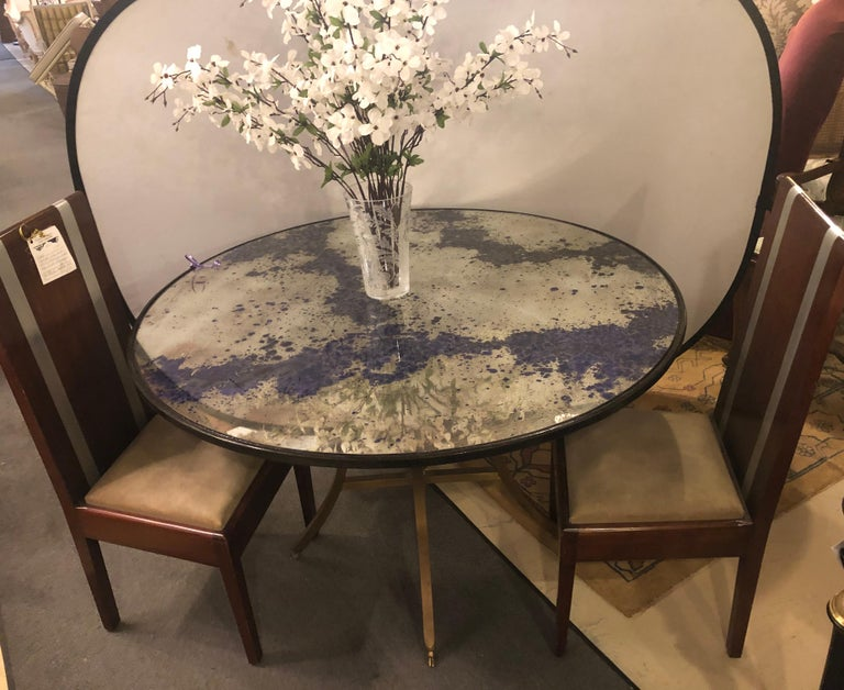 Monumental Art Deco Black & Silver Distressed Wall Console Mirrors or Table Tops In Good Condition For Sale In Stamford, CT