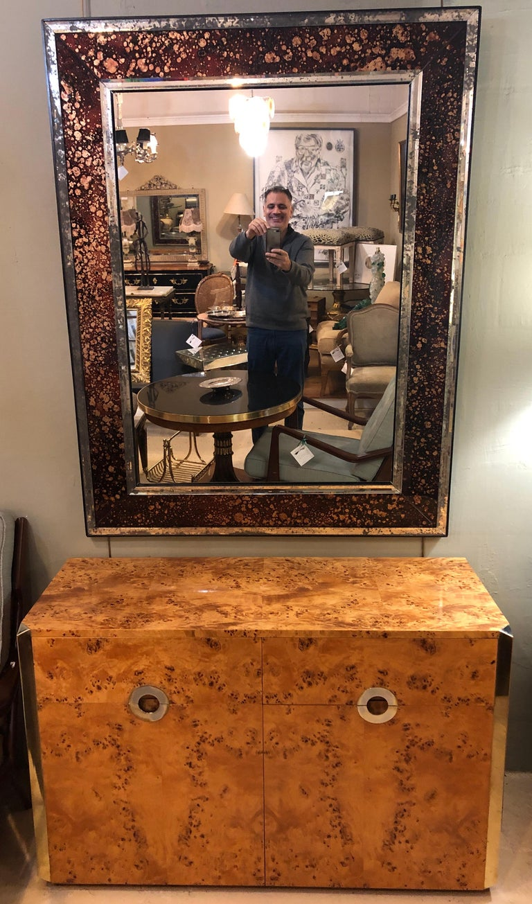 Pair of Monumental Tortoise Shell Beveled Bordered Console or Wall Mirrors In Good Condition For Sale In Stamford, CT