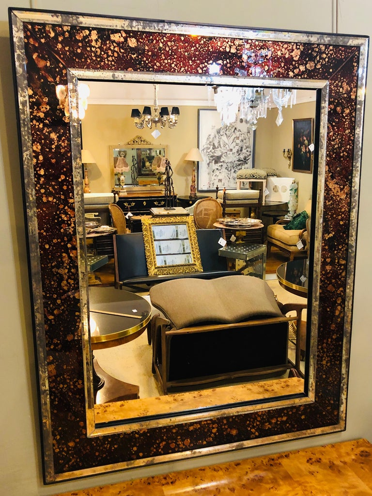 20th Century Pair of Monumental Tortoise Shell Beveled Bordered Console or Wall Mirrors For Sale