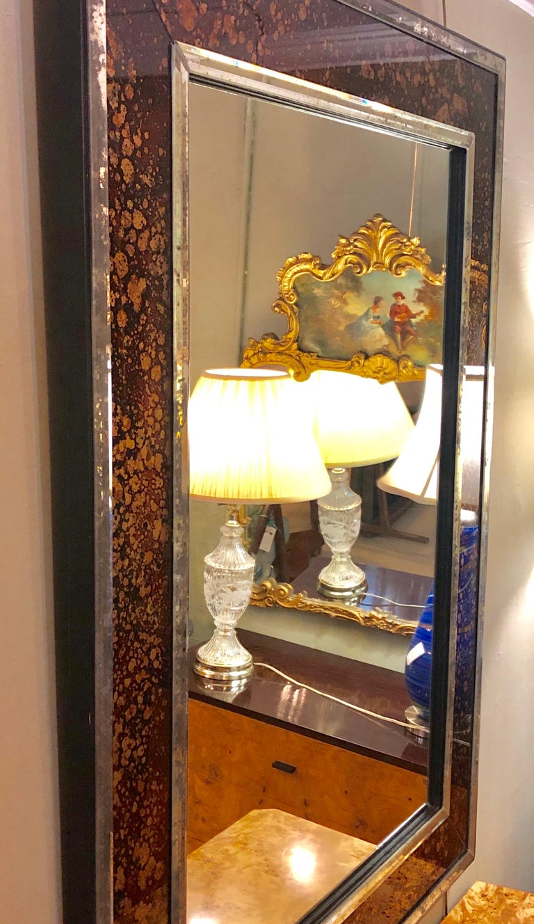 Pair of Monumental Tortoise Shell Beveled Bordered Console or Wall Mirrors For Sale 4