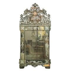German Distressed Venetian Style Mirror Beautifully Cut Crest
