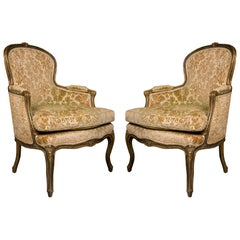Pair of French Walnut Bergère Chairs