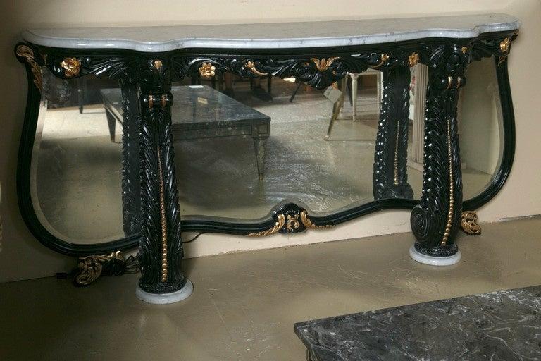 Ebonized Marble-Top Console Table by Maison Jansen 2