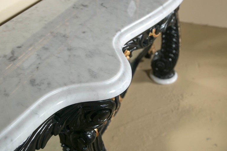 Ebonized Marble-Top Console Table by Maison Jansen 3