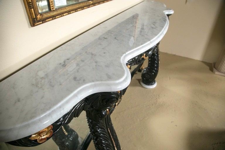 Ebonized Marble-Top Console Table by Maison Jansen 4