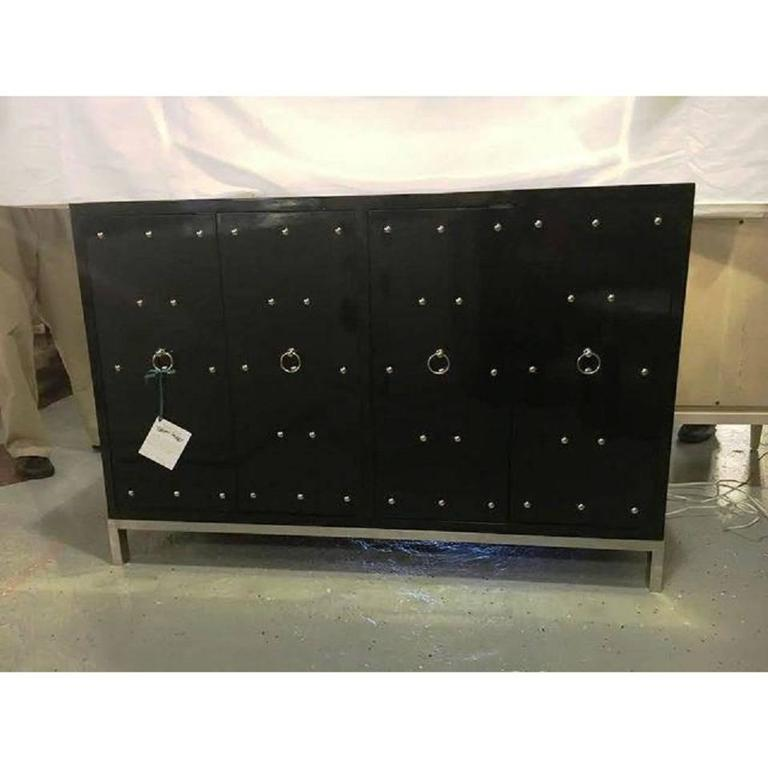 Tommi Parzinger Style Black Studded And Mirrored Cabinet. A Silver Steel  Base Supporting A Four