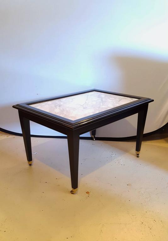 Ebonized Marble Top Coffee Table Cocktail Table On