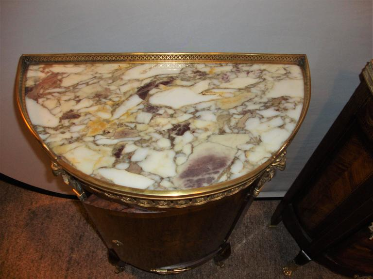 20th Century  French Louis XV Style Inlaid Pedestal End Table Night Stand Gallery Marble Top  For Sale