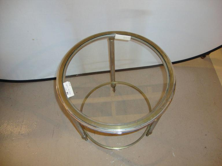 Bronze bamboo Bouilliotte glass top end table stand.   A bronze glass top stand, bamboo form legs. This great small table can also be used as a side table.