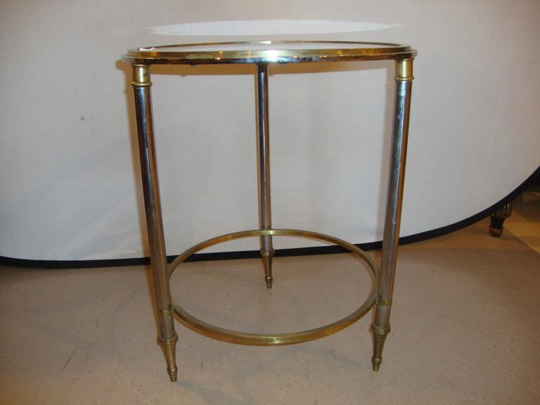 Unknown Hollywood Regency Style Bronze Bamboo Bouilliotte Glass Top End Or Side Table  For Sale