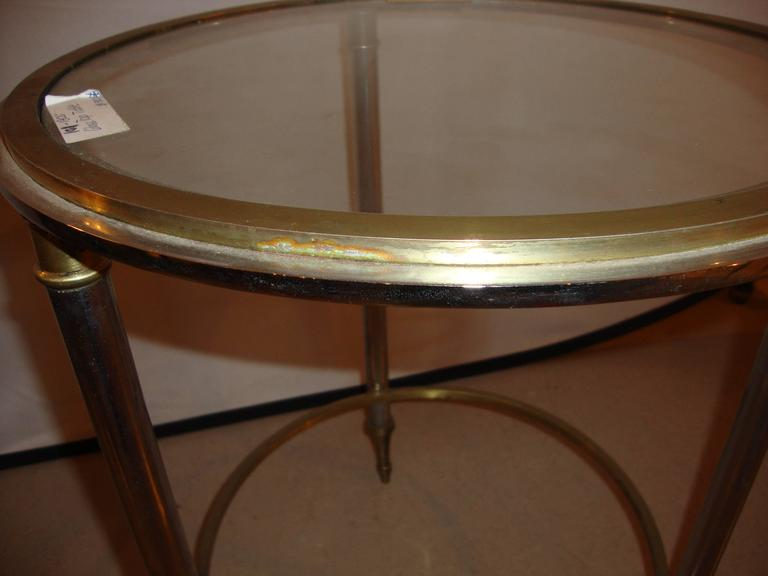 Hollywood Regency Style Bronze Bamboo Bouilliotte Glass Top End Or Side Table  In Good Condition For Sale In Stamford, CT