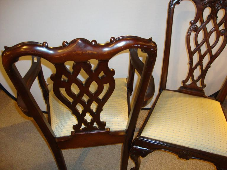Set of eight Chippendale style dining chairs. Each pierced splat back supported by slip seats and a carved ball and claw foot with a cabriole leg. Custom quality.Can purchase as many as are needed. Six / four or all eight.