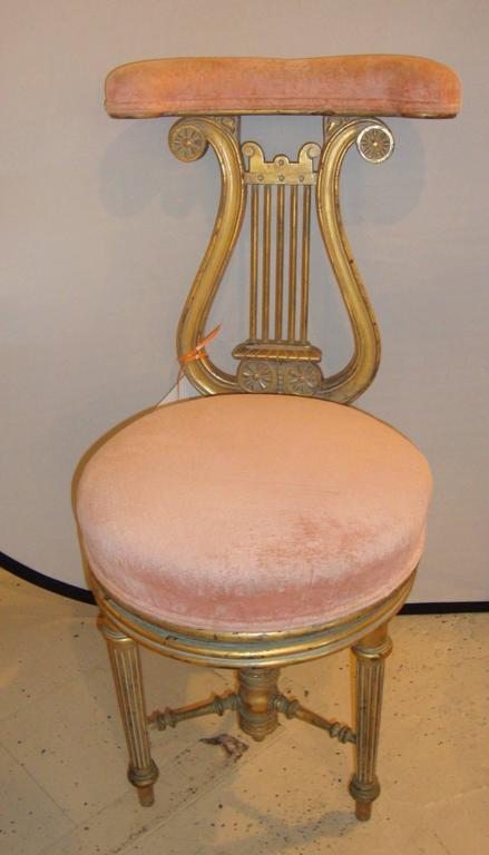 Victorian adjustable lyre gold harp piano chair. Measures: Seat height 18  inches. - - Antique Harp Chair Antique Furniture