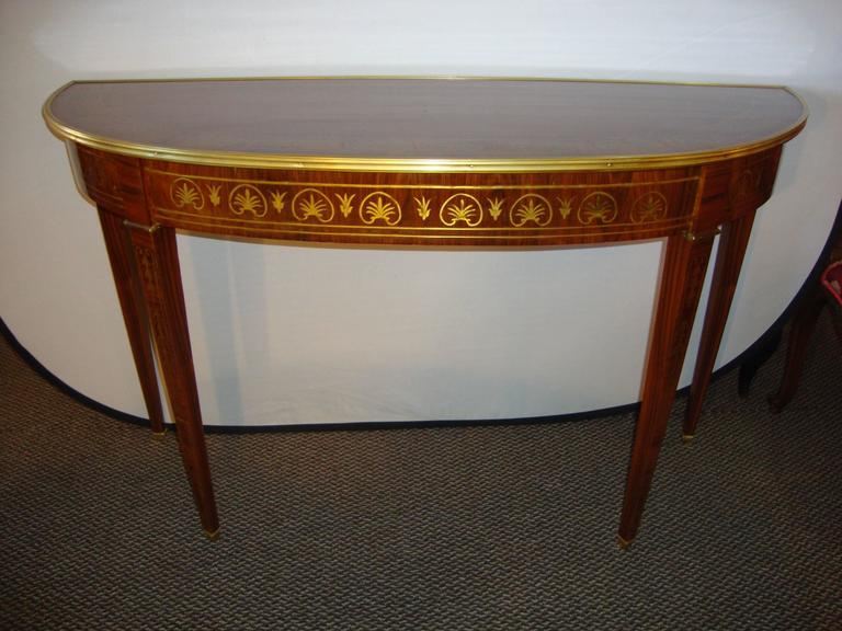 Adam Style A Fine Boulle Inlaid Demi Lune Console Serving Table For Sale