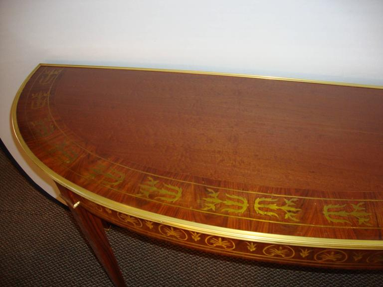 A Fine Boulle Inlaid Demi Lune Console Serving Table In Good Condition For Sale In Stamford, CT