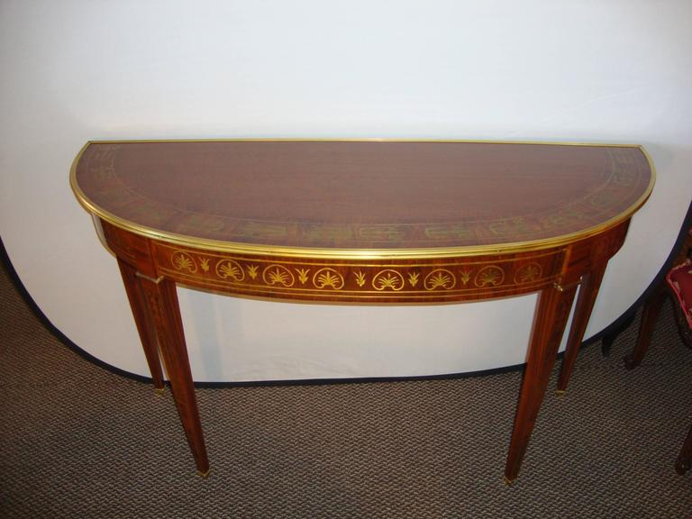 A Fine Boulle Inlaid Demi Lune Console Serving Table For Sale 4