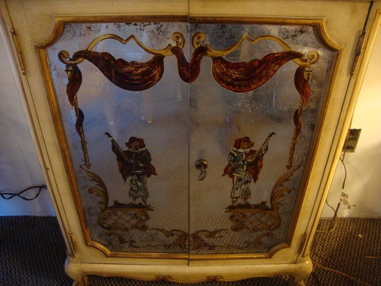 French Maison Jansen Verrne Eglomise and Painted Cabinet Commode For Sale